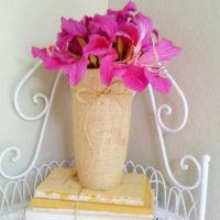 Burlap-covered Vase