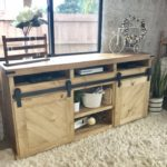 DIY Sliding Door TV Console with Media Shelves