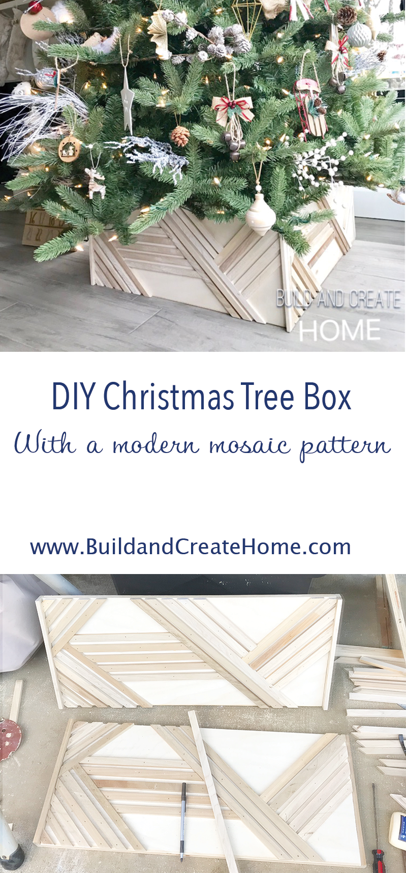 Diy Modern Wood Christmas Tree Box Stand With Mosaic Pattern